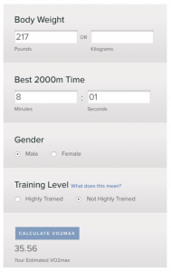 VO2 max from Concept 2 website